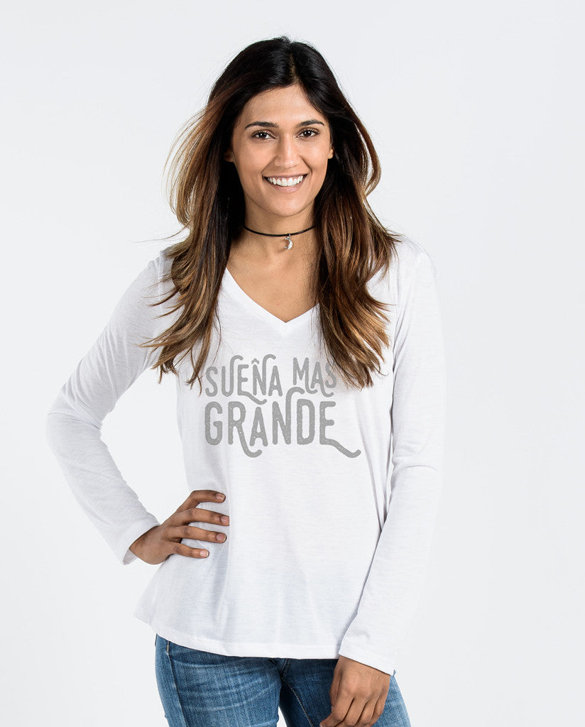 Suena Mas Grande Flowy Long Sleeve V-Neck