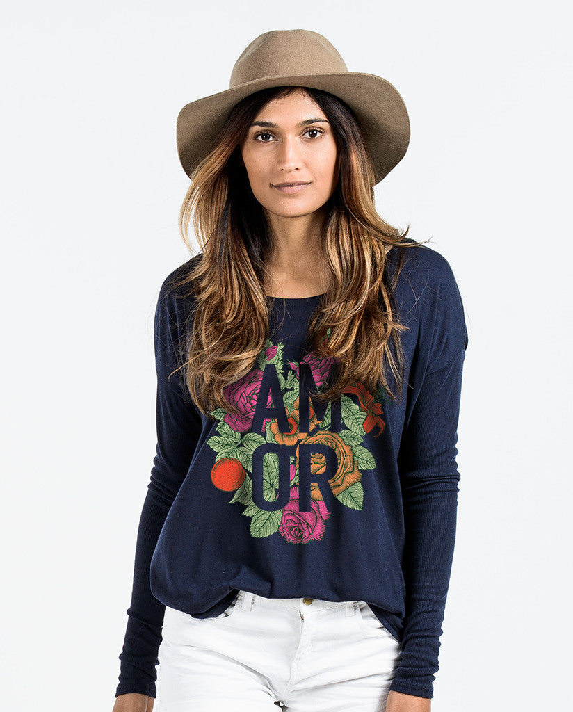 Amor Blue Flowy Long Sleeve V-Neck