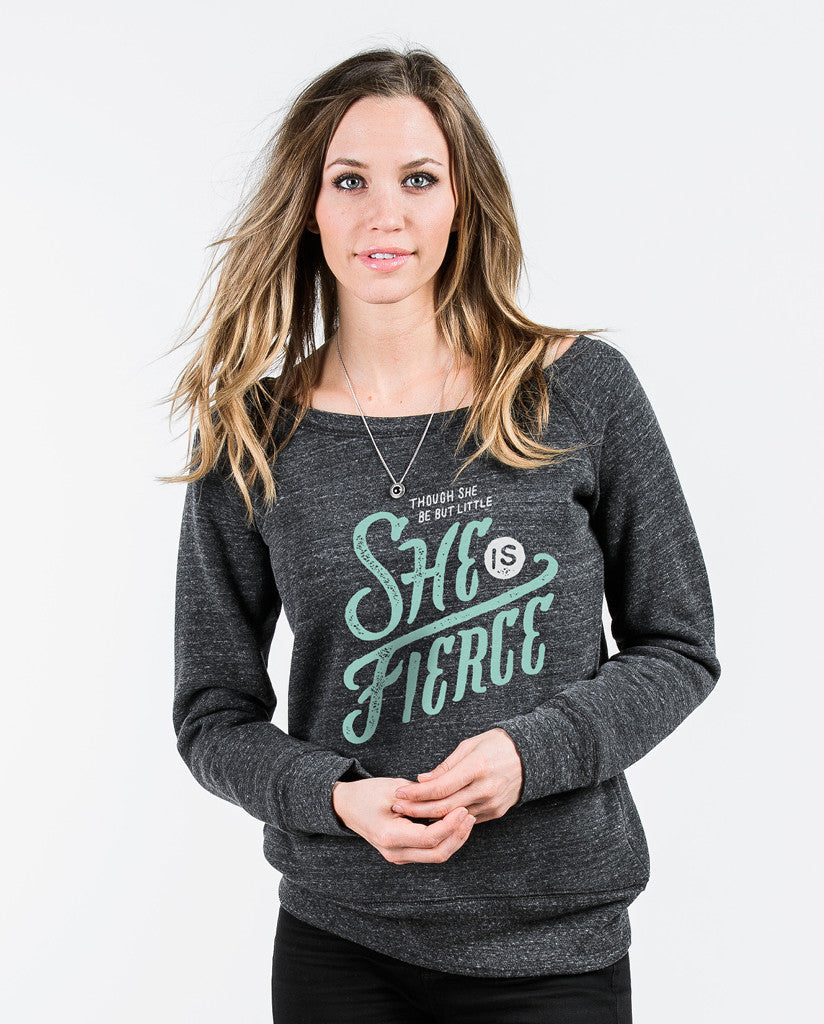 She Is Fierce Grey Slouchy Sweatshirt