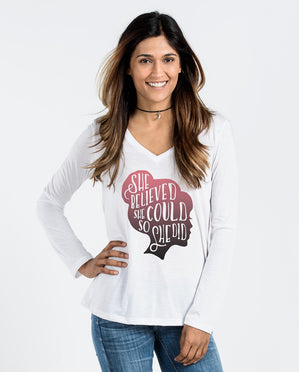 She Believed Flowy Long Sleeve V-Neck