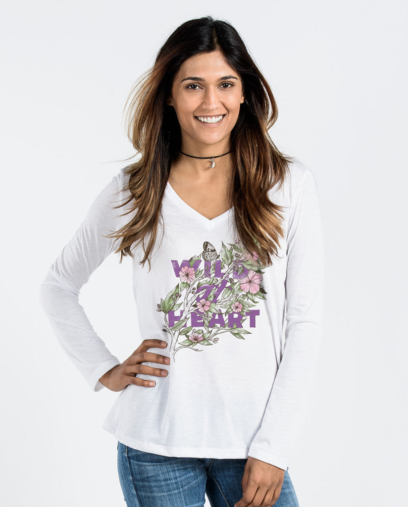 Wild At Heart White Flowy Long Sleeve V-Neck
