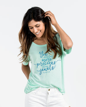 More Precious Than Jewels Mint Slouchy Tee