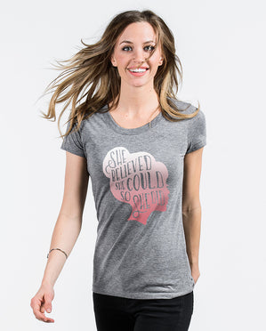 She Believed Grey Triblend Short Sleeve Tee