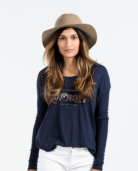 Worth Blue Flowy Long Sleeve