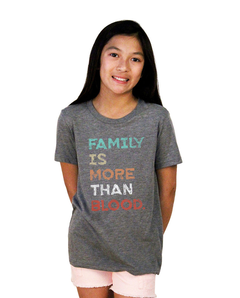 Family Is More Youth Grey Triblend Short Sleeve Tee