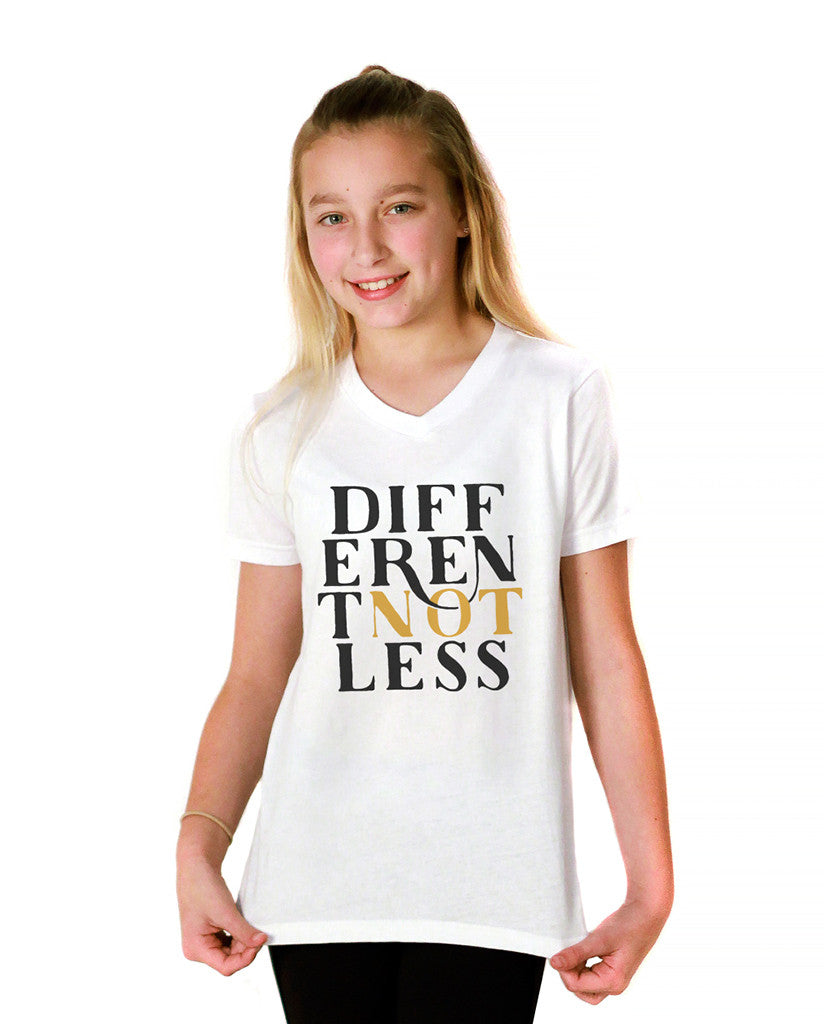 DIfferent Not Less Youth White Jersey Short Sleeve V Neck Tee