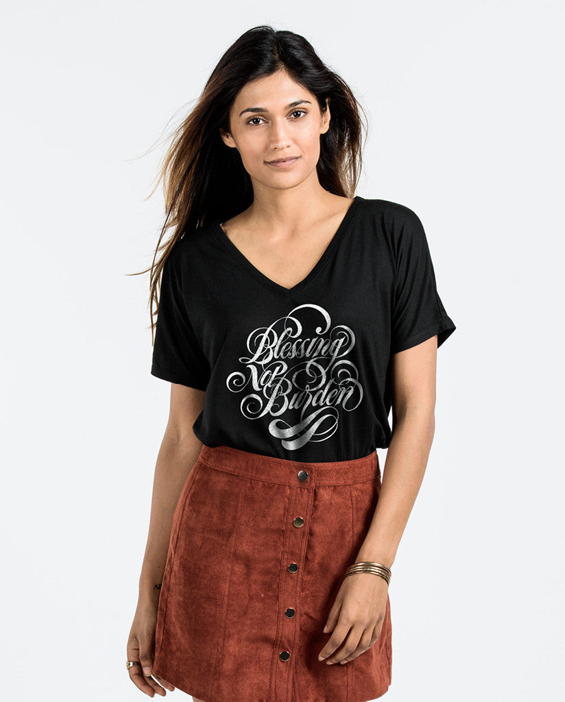 Blessing Not Burden Black Flowy V-Neck