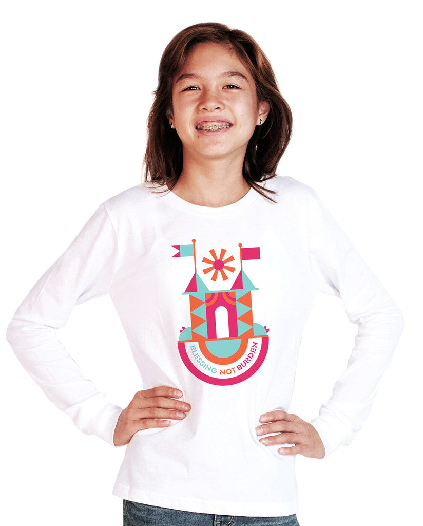 Blessing Not Burden Youth White Long Sleeve Tee