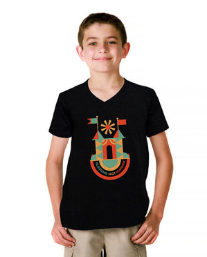 Blessing Not Burden Youth Black Jersey Short Sleeve V Neck Tee
