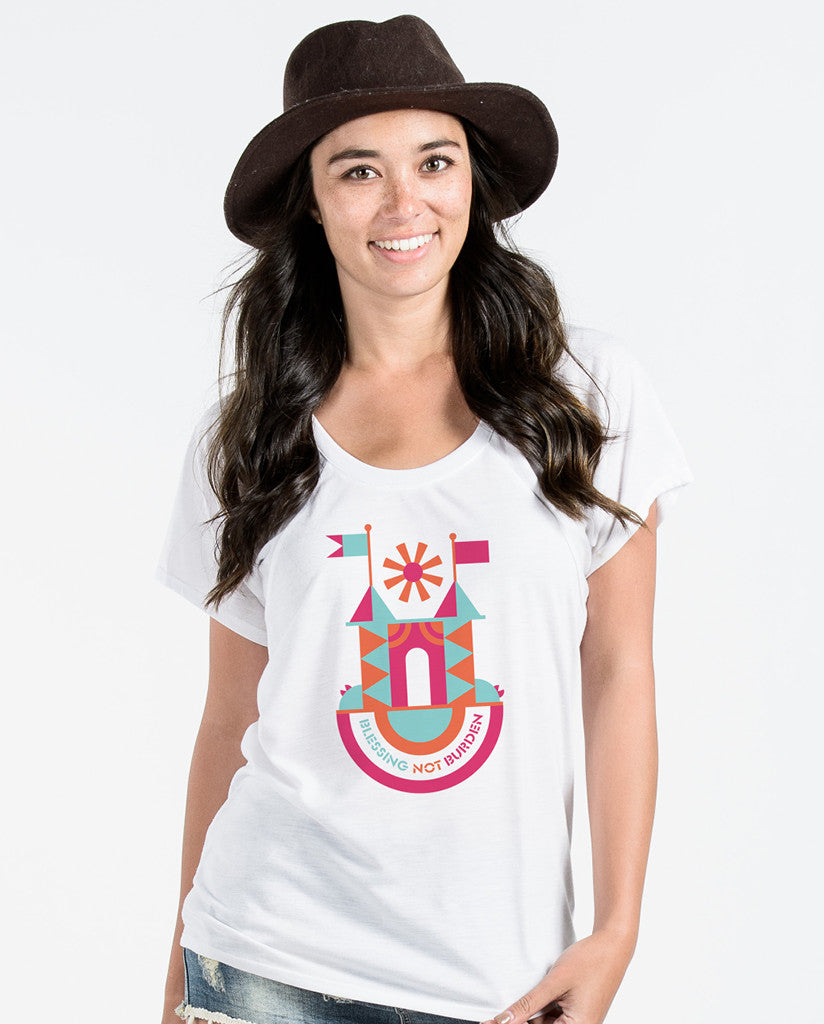 Blessing Not Burden White Flowy Raglan
