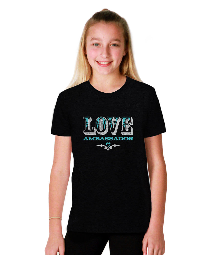 Love Ambassador Youth Black Short Sleeve Tee
