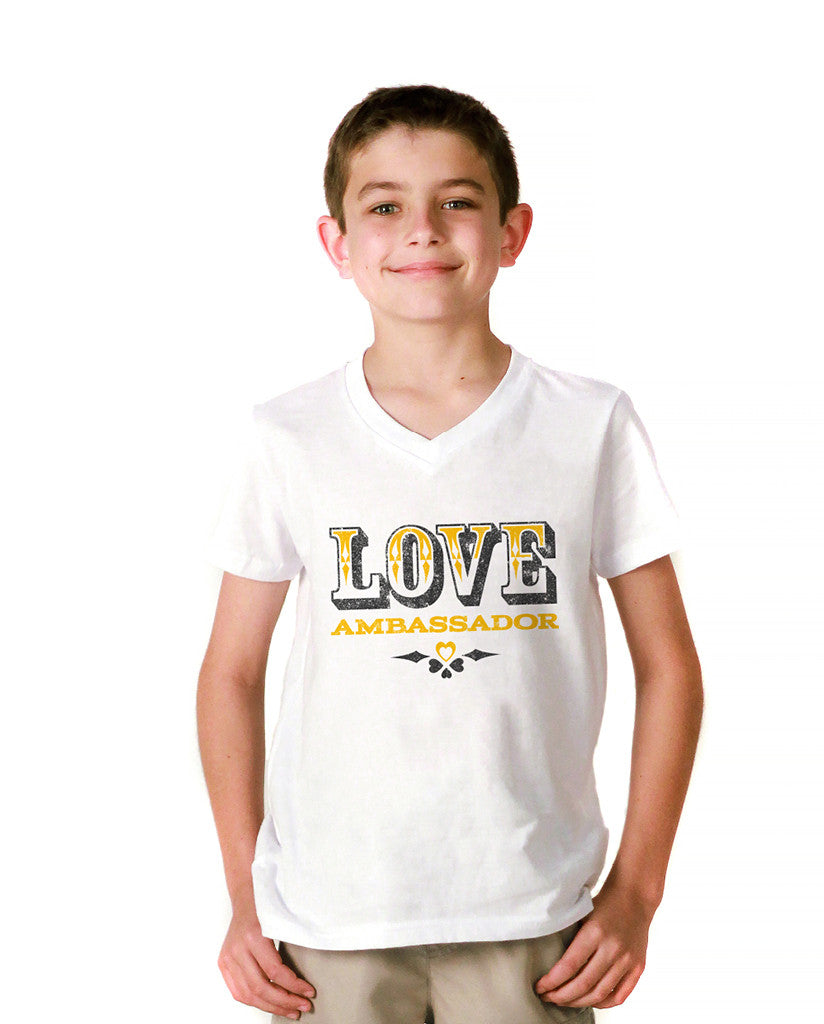 Love Ambassador Youth Jersey Short Sleeve V Neck Tee