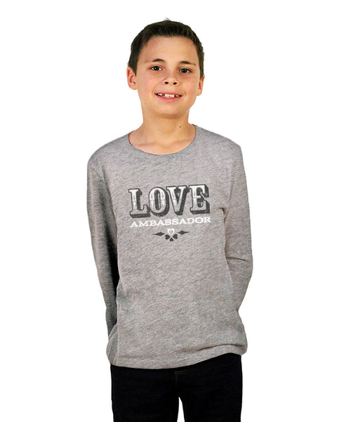 Love Ambassador Grey Youth Jersey Long Sleeve Tee