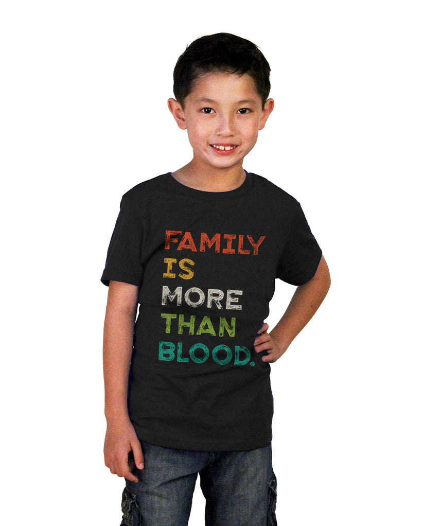 Family Is More Than Blood Youth Black Short Sleeve Tee
