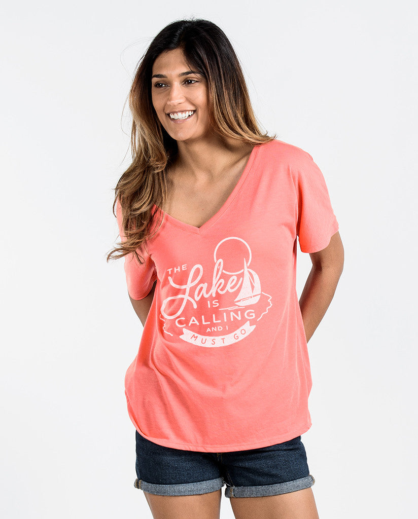 The Lake Is Calling Womens Coral Flowy V-Neck