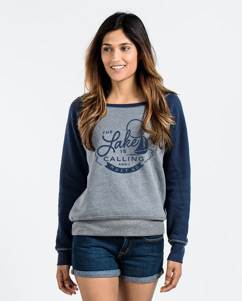 The Lake Is Calling Womens Slouchy Sweatshirt