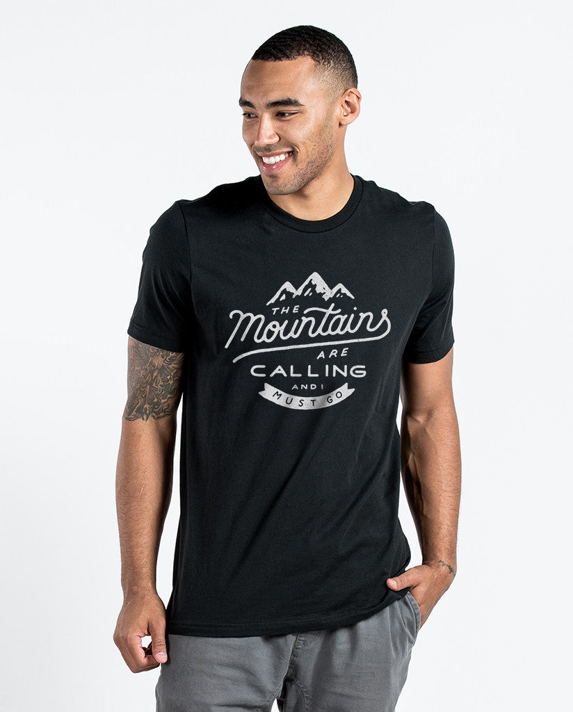Environment - The Mountains Are Calling - Men's Black Premium Triblend Tee