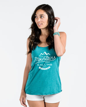 The Mountains Are Calling Teal Racerback Tank