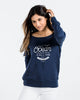 The Ocean Is Calling Womens Navy Slouchy Sweatshirt