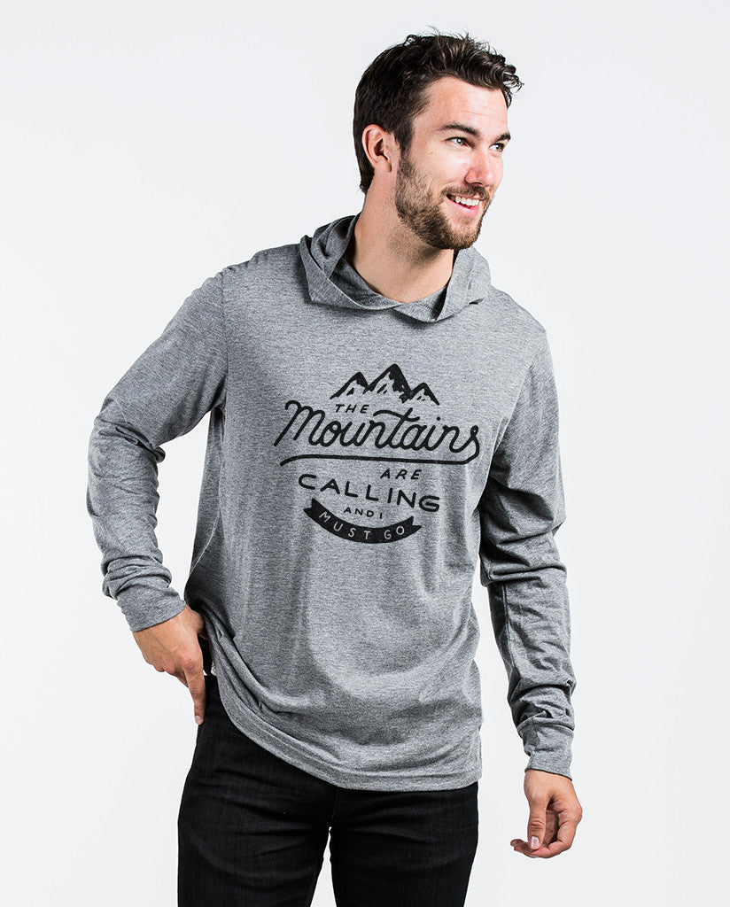 The Mountains Are Calling Unisex Grey Long Sleeve Hoodie