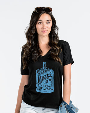 Water Is Life Giving Womens Black Flowy V-Neck