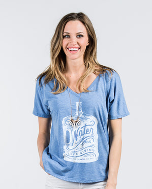 Water Is Life Giving Womens Blue Flowy V-Neck