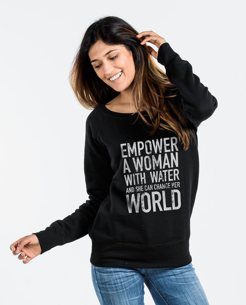 Empower Womens Black Slouchy Sweatshirt