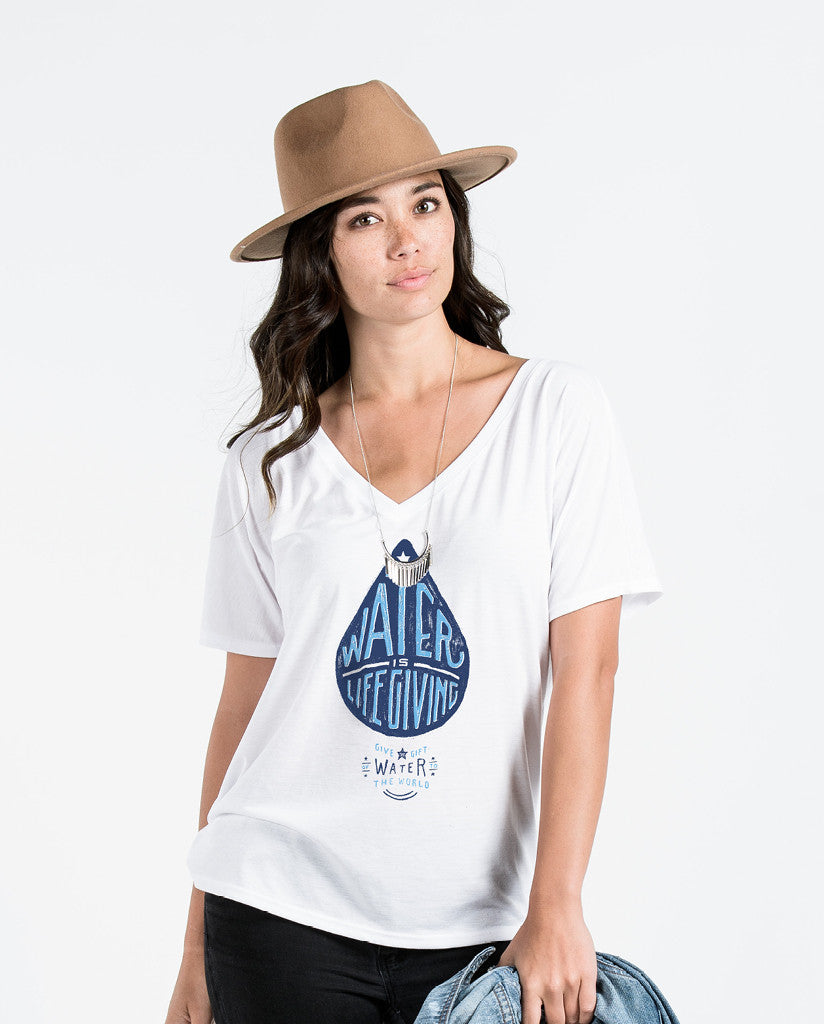 Water Is Life Giving Womens White Flowy V-Neck