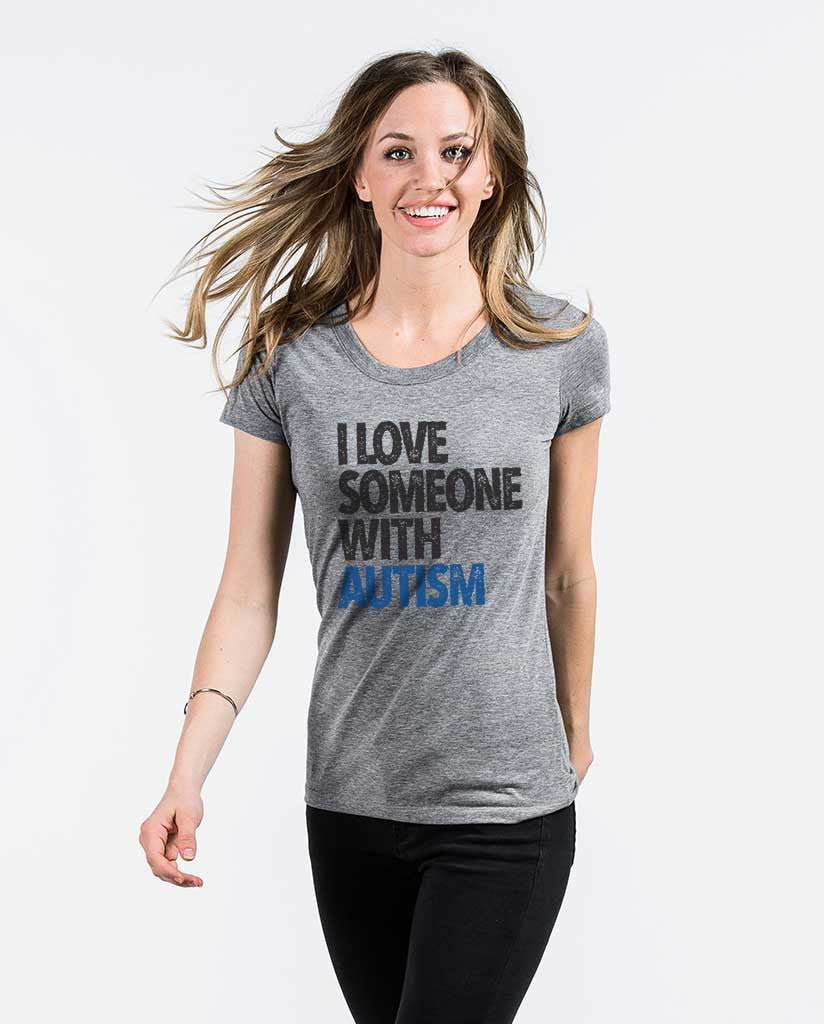 I Love Someone With Autism Womens Triblend Short Sleeve Tee