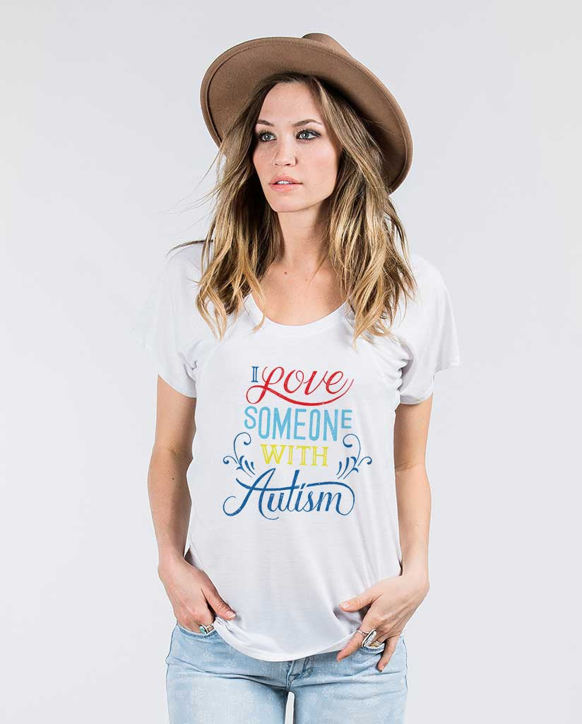 I Love Someone With Autism Womens Flowy Raglan