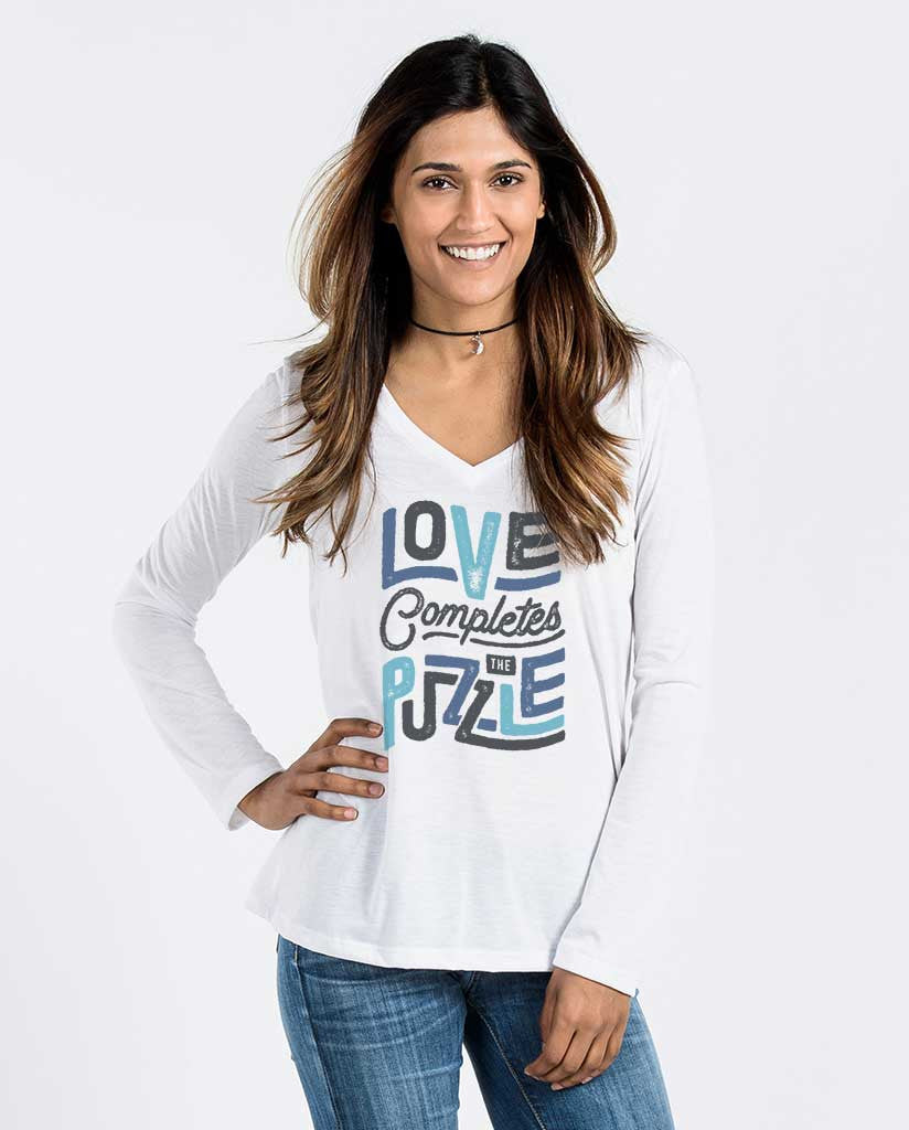 Love Completes The Puzzle Womens Flowy Long Sleeve V-Neck