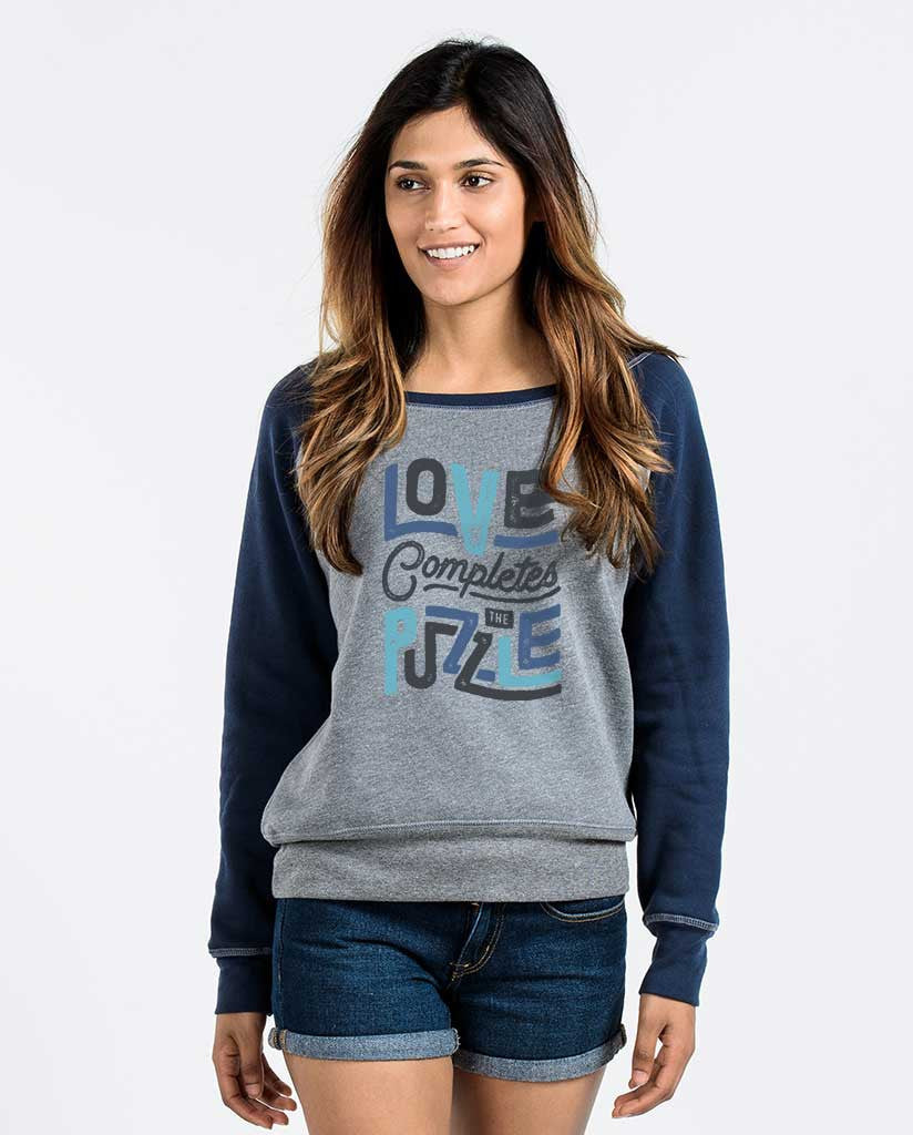Love Completes The Puzzle Womens Grey Slouchy Sweatshirt