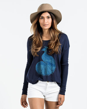 Peacock Womens Flowy Long Sleeve
