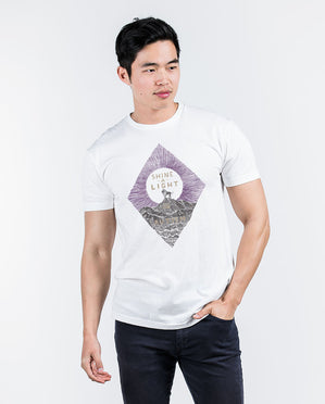 Shine A Light Mens White Premium Fitted Tee