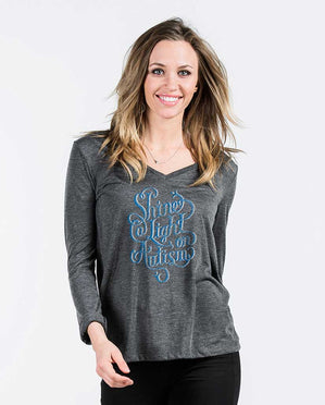 Shine A Light Womens Flowy Long Sleeve V-Neck