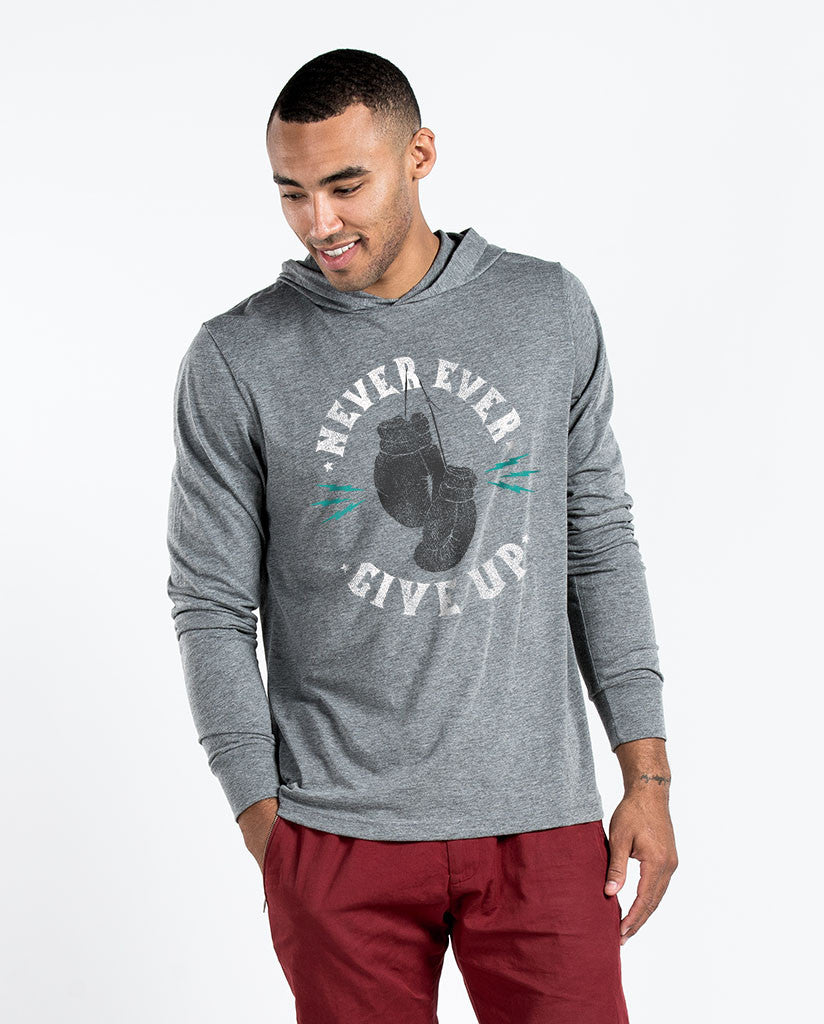 Never Ever Give Up Unisex Grey Long Sleeve Hoodie