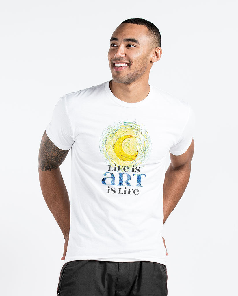 Life Is Art Mens White Premium Fitted Tee