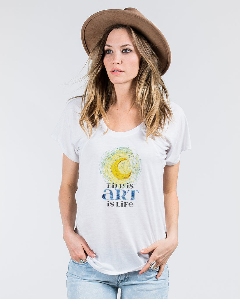 Life Is Art Womens White Flowy Raglan