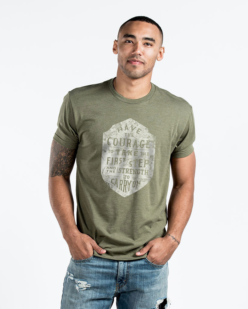 HAVE THE COURAGE Mens Green Premium Fitted Tee