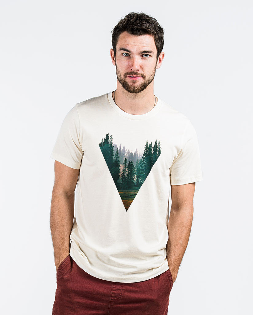 FOREST Mens Off-White Fitted Tee