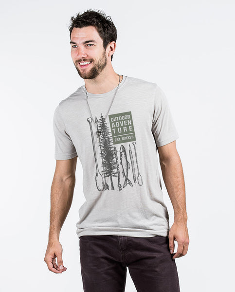 OUTDOOR ADVENTURE Mens Grey Premium Tee