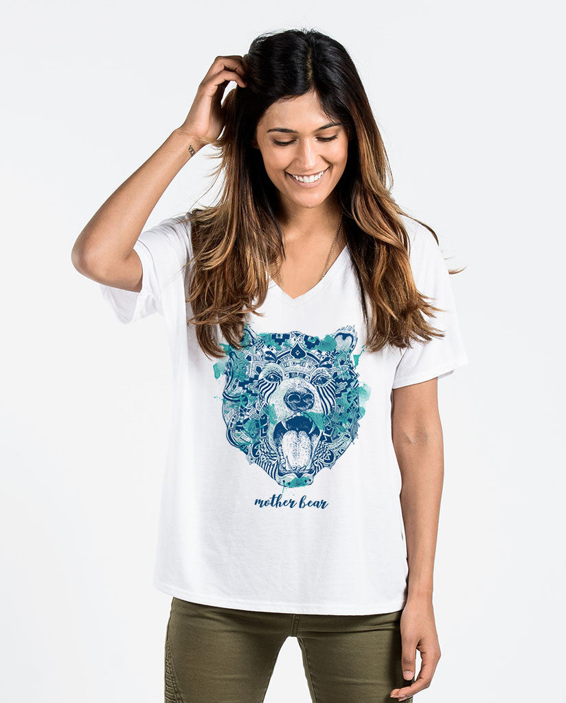 Mother Bear Womens Flowy V-Neck