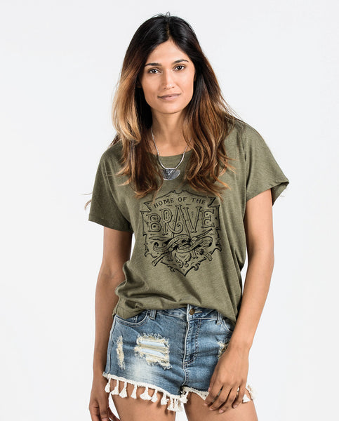 Home Of The Brave Womens Flowy Dolman