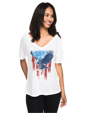 Vintage Eagle Flag Womens Flowy V-Neck