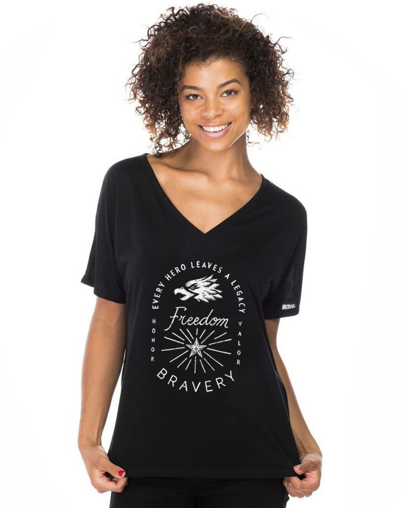 Every Hero Leaves A Legacy Womens Flowy V-Neck