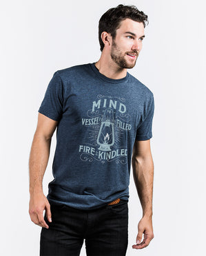 MIND IS A VESSEL Mens Blue Premium Fitted Tee