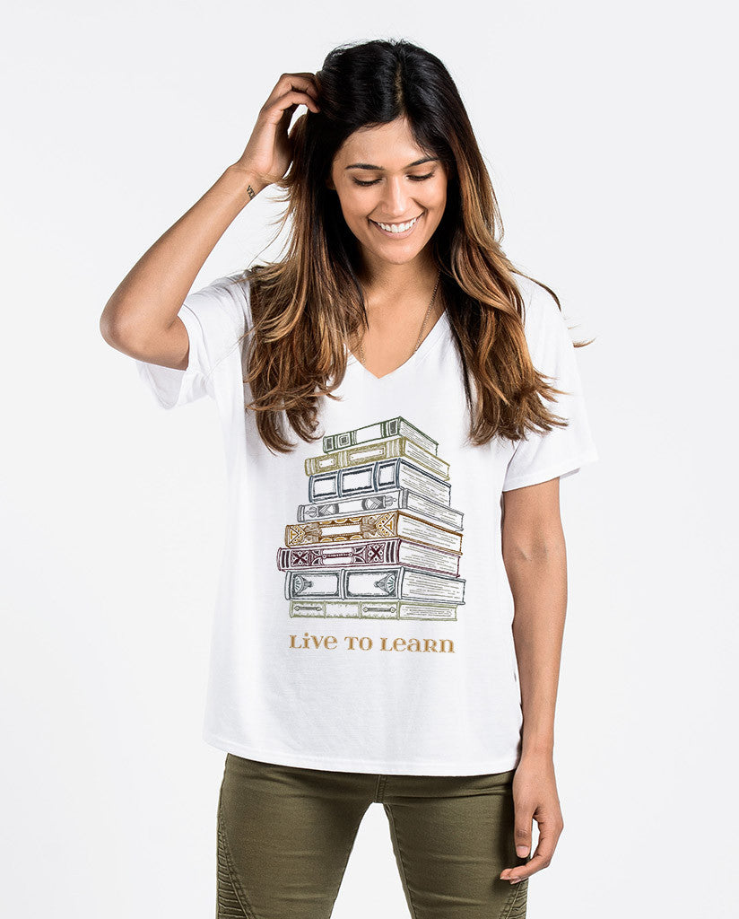 Live To Learn Womens Flowy V-Neck