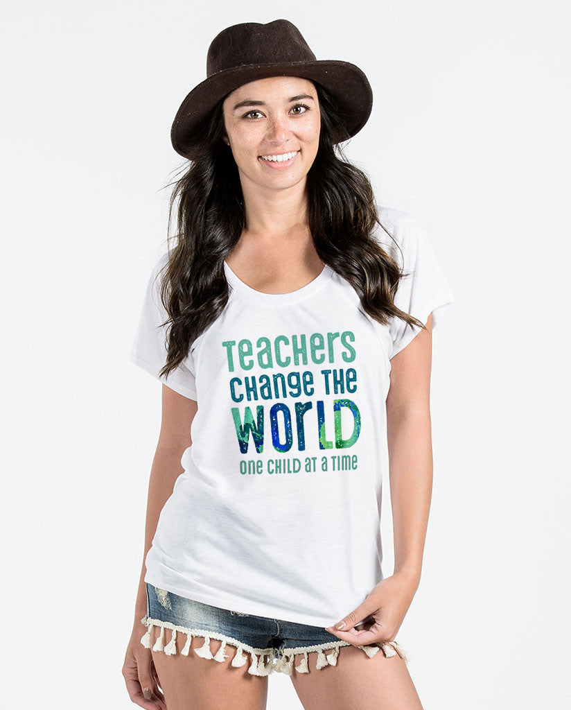 Teachers Change The World Womens White Flowy Raglan