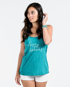 GIVE THE GIFT OF HEARING Womens Racerback Tank
