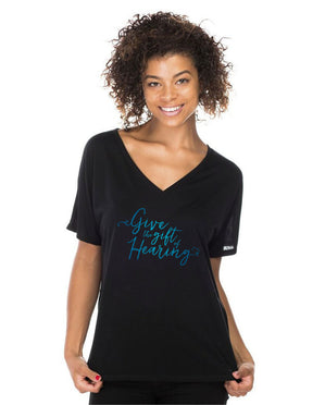 GIVE THE GIFT OF HEARING Womens Flowy V-Neck